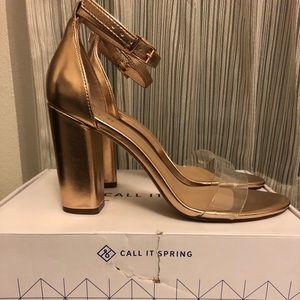 Call It Spring Gold Block Heel